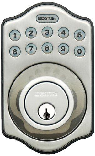 Lockstate Ls-500I-Db-Sn Remote Lock Wifi Programmable Electronic Deadbolt Door Lock, Satin Nickel