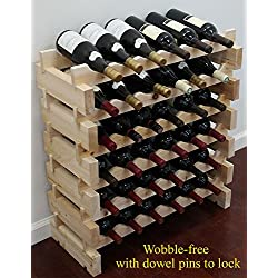 DisplayGifts 36 Bottle Capacity Stackable Storage Wine Rack, Wobble-free, WN36