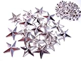 【jewel】星型 スタッズ パーツ 3色2サイズから選択可能 (リベットタイプ) 50個セット スター ベルト 鞄 スニーカー製作 リメイク ハンドメイド レザークラフト 手芸パーツ カシメ 材料 (20, シルバー)