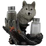 Decorative Gray Wolf Glass Salt and Pepper Shaker Set with Holder Figurine for Cabin and Rustic Lodge Restaurant Bar or Kitchen Table Decor, Wildlife Animal Collectibles & Wolves Sculptures As Gifts for Timberwolves or Wolfpack Fans