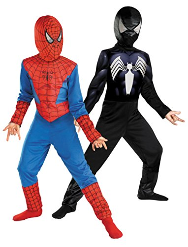 Boys Reversible Spiderman Kids Child Fancy Dress Party Halloween Costume