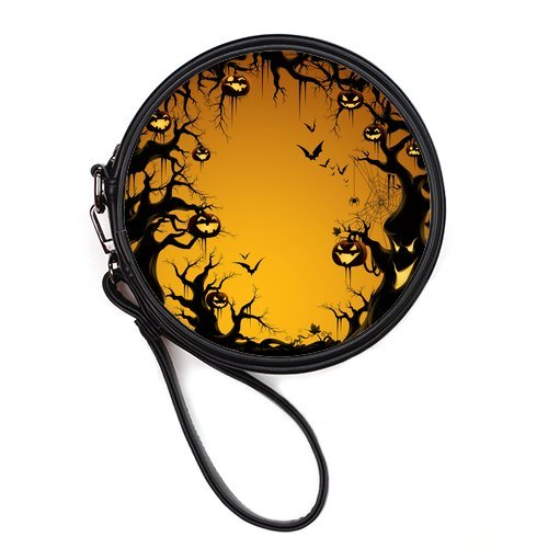LaHuo Halloween Dusk Pumpkin Monster Custom Design Women Makeup Bag Personality Round Makeup Bag Coin Purse
