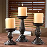 """Hosley's Set of 3 Resin Pillar Candle Holders - 8"""", 6"""", 4.5"""""""