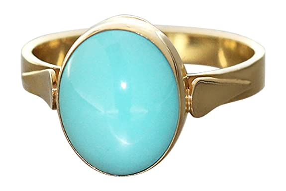 Gold Turquoise Ring 750 Hobra-Gold - Gold with Genuine Turquoise Cabochon Ring - Women