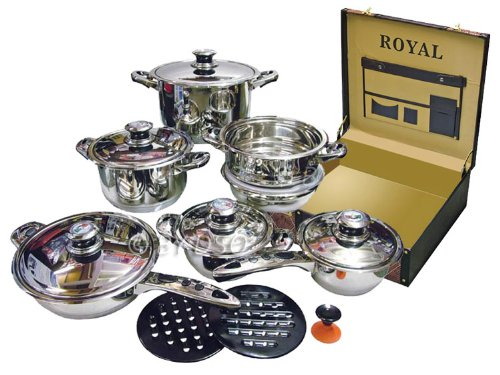 Royal Superior 17 Piece Induction Cookware Set with Snake Effect Case - Black