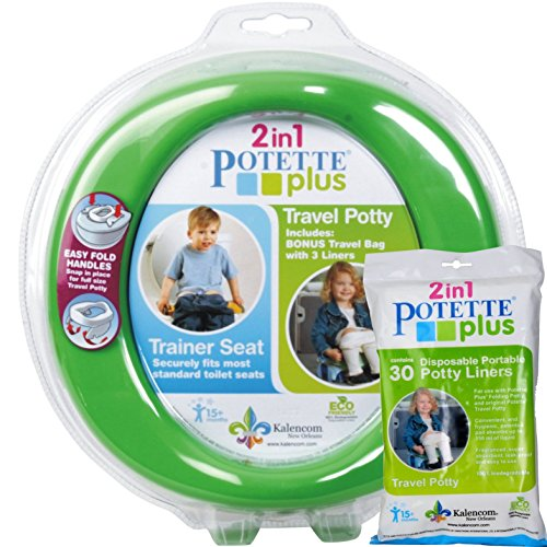 Green Potette Plus Port-a-potty Training Potty Travel Toilet Seat - 2 in 1 Bundle with Potette Plus Liners - 30 Liners - 1