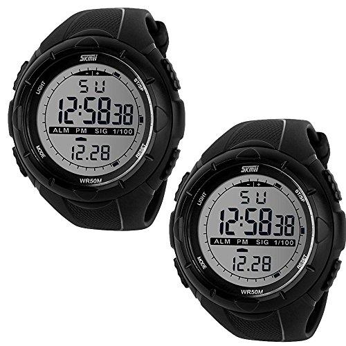 SunJas 5ATM Wasserdicht Sport Armbanduhr Fashion Men LCD Digital Stoppuhr Chronograph Datum Alarm Gummi-Sport-Armbanduhr