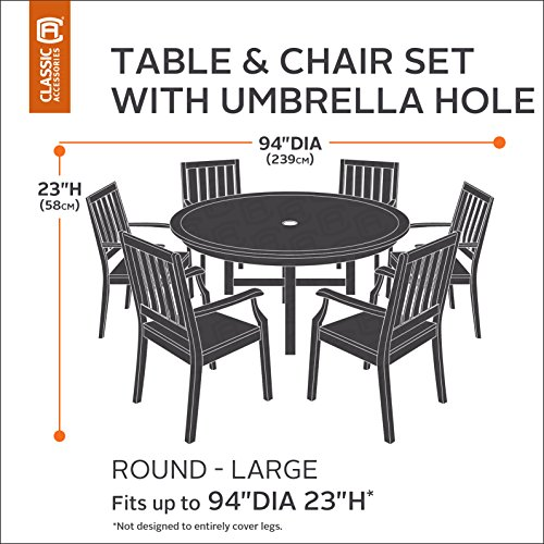 Classic accessories veranda round patio table chair set for 1 furniture hole cover