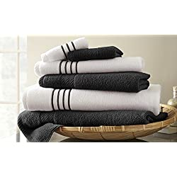 6-Piece Quick-Dry Striped Towel Set (Multiple Colors)