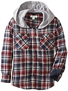 Pumpkin Patch Little Boys' Red Hooded Shirt, Ketchup, 7