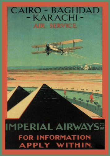 Vintage Travel PAKISTAN, EGYPT & IRAQ with IMPERIAL AIRWAYS Aviation 250gsm Gloss ART CARD A3 Reproduction Poster
