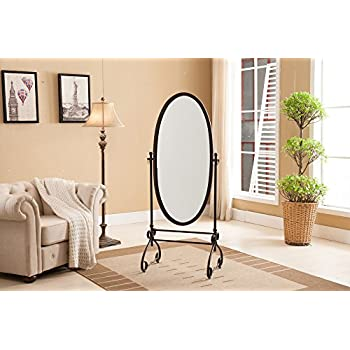 Kings Brand Furniture Metal Cheval Standing Floor Mirror, Antique Brown