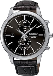 Seiko Chronograph Black Dial Black Leather Mens Watch SNN275P2