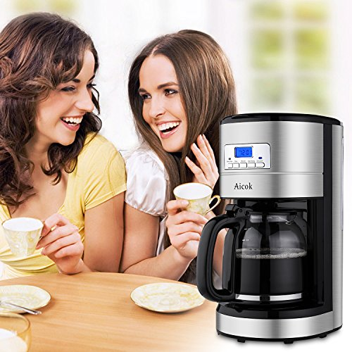 Aicok 12 Cup Coffee Maker, Drip Coffee Makers, Programmable Coffee Maker with Timer and Reusable Mesh Filter, Stainless Steel, Black