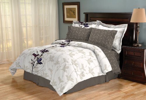 Sanders Home Collection Genesis Reversible 8-Piece King Bed in a Bag Bedding Set, Sugar Plum