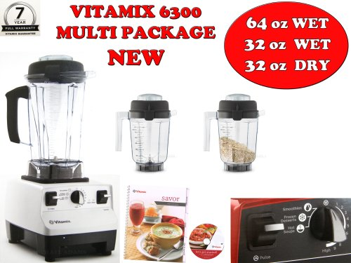 VITAMIX 6300 MULTI-PACKAGE Featuring 3 Pre-Programmed Settings, Variable Speed Control, and Pulse Function . Includes Savor Recipes Book , DVD and Spatula. (64oz WET/32oz WET/32oz DRY, WHITE)