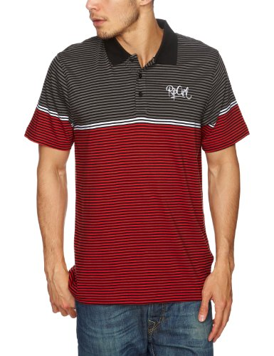 Rip Curl Classic Stripe Short Sleeve Polo Men's Top True Red X-Small