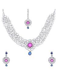 Nimble Silverish Metal Choker Necklace Set For Women