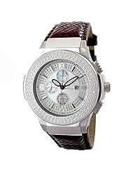 "JBW-Just Bling Men's JB-6101L-B ""Saxon"" Stainless Steel Braided Leather Diamond Watch"