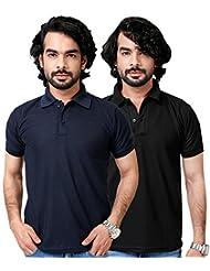 Elligator Stylish Black & NavyBlue Polo T-Shirt Combo