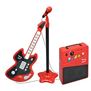 gwell guitar microphone and amp red black toys games. Black Bedroom Furniture Sets. Home Design Ideas