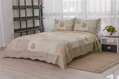 Cotton Comfortable Countryside Flower Patchwork Bedspread Quilt Sets Queen