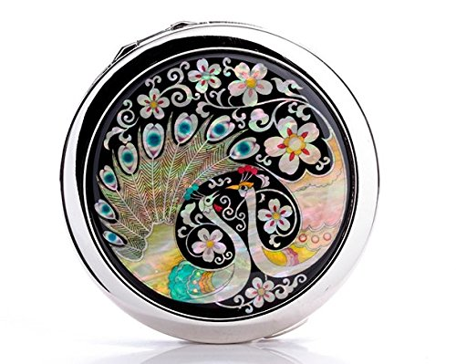Portable Folding Shell Carving Pattern Peacock Vanity Mirror Sub front-955294