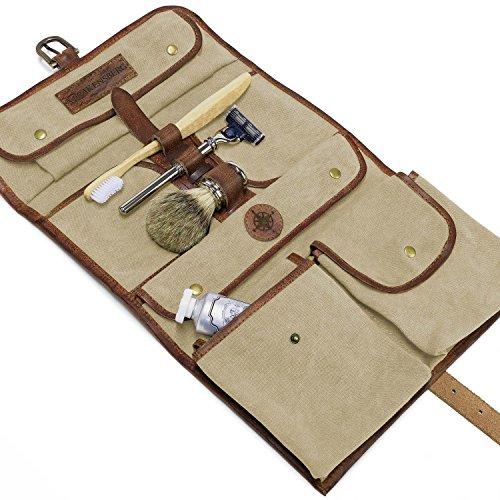 DRAKENSBERG Kimberley Wash Bag, nécessaire da viaggio, borsetta da toilette, beauty case, trousse, tela, canvas, pelle, vintage, lussuosamente, beige, marrone