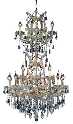 Elegant Lighting 2800D30Sg/Rc Maria Theresa 50-Inch High 25-Light Chandelier, Gold Finish With Crystal (Clear) Royal Cut Rc Crystal front-863754