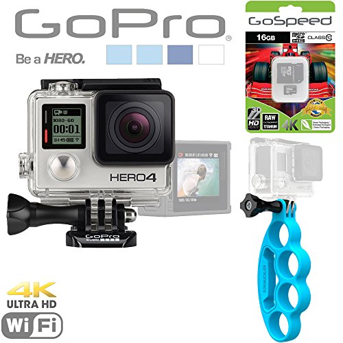 Gopro Hero4 Hero 4 12Mp Full Hd 4K 15Fps 1080P 60Fps Built-In Wi-Fi Waterproof Wearable Camera Silver Adventure Edition (16Gb+ Blue Goknuckles) front-1047053