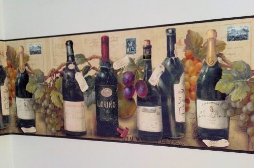 Wine and Grapes Wallpaper Border By Village (Kitchen Wallpaper Border Grapes compare prices)