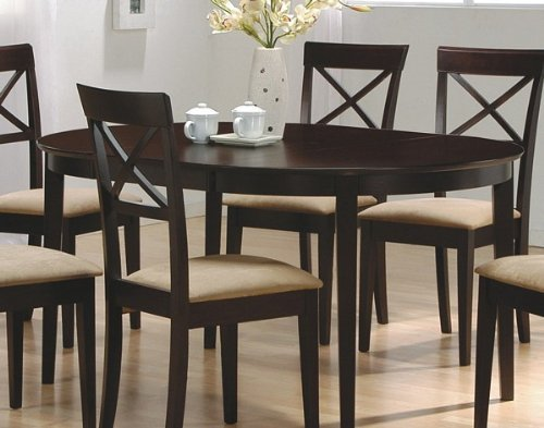 Coaster Contemporary Oval Dining Table, Cappuccino Finish
