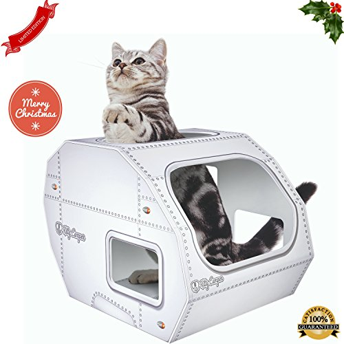 COOL-CAT-TOYS-FOR-INDOOR-OUTDOOR-CATS-BY-KITTY-CAMPER-Stylish-Cardboard-Houses-Designed-To-Cheer-Up-Any-Grumpy-Feline-Used-as-a-Scratcher-Toy-Or-Bed-For-All-Day-Interactive-FunBONUS-EBOOK