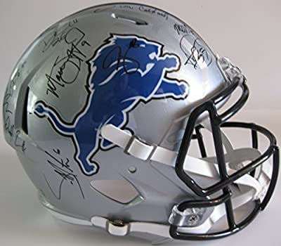 2015 Detroit Lions Team, Signed, Autographed, Riddell Full Size Speed Helmet, a COA with the Proof Photos of the Lions Players Signing the Helmet Will Be Included