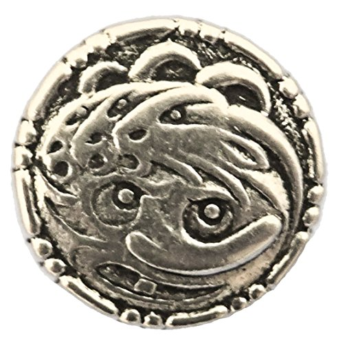 De Tre Bukkene Bruse - Crazy Haired Witch Pewter Button. 18mm - 11/16""