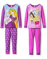 Disney Princess Girls 4 piece Cotton Pajama Set, Sizes 4-10