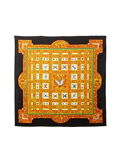 Hermès Women's Pre-Owned Insect Silk Scarf, Black/Orange/White