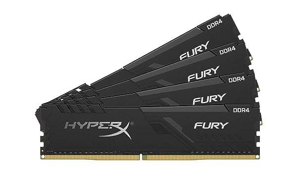 HyperX Fury 64GB 2400MHz DDR4 CL15 DIMM (Kit of 4) Black XMP Desktop Memory HX424C15FB3K4/64 (Tamaño: 64GB kit (4 x 16GB))