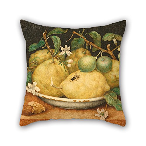 Artistdecor Oil Painting Giovanna Garzoni (Italian - Still Life With Bowl Of Citrons Throw Pillow Covers 16 X 16 Inches