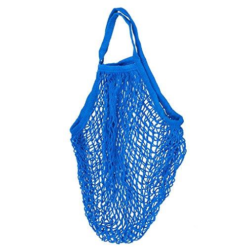 Sac d'achat Shopping En Filet Réutilisable Poche de Fruits épicerie 46x46cm - Bleu