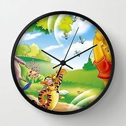 10 Inch Art Wall Clock Winnie The Pooh1 Black Frames Wall Decor Clock