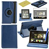 Fulland Colorful 360 Rotating Flip Leather Case Cover for Amazon Kindle Fire HD 7.0 (2013 Version) with Smart Auto Wake/Sleep Function plus Stylus Touch Screen Pen and Screen Protector-Dark Blue