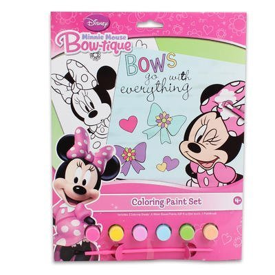 Disney Jr. Minnie Mouse Bow-tique Coloring Paint Gift Set for Kids - Minnie Bow-tique Coloring Paint Set with 2 Coloring Sheets, 6 Water-Based Paints & 1 Paint Brush Plus 1 Set Minnie and Friends Stickers