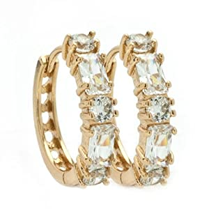 Pugster 18k Gold Clear White Crystal Hoops Earrings
