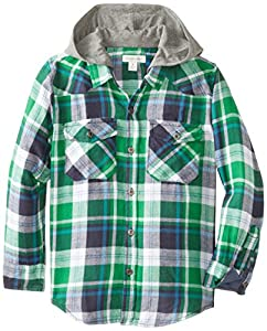 Pumpkin Patch Little Boys' Blue Check Long Sleeve Shirt with Hood, Captain Blue, 6