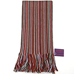 Orange, Red and Blue Men Scarf - Wool Winter Striped Scarf for Men