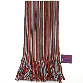 Men's Merino Wool Scarf-Colourful and trendy striped scarf for men