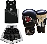 KIDS BOXING UNIFORM 2 PICES SET (TOP & SHORT) BLACK-WHITE 07 TILL 08 YEAR OLD KIDS & KIDS BOXING GLOVES BLACK 06OZ