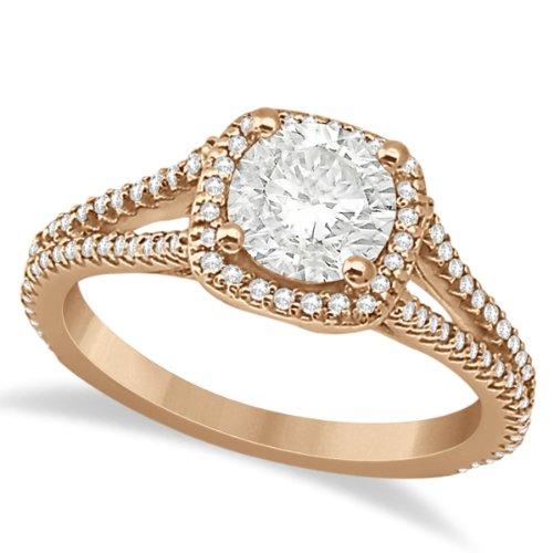 Halo Moissanite And Diamond Engagement Ring Split Shank 18K Rose Gold 1.25Ct