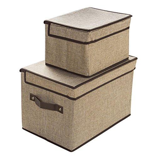 LightBiz Fabric Storage Bins with Lids, Larger & Small Foldable Closet Organizer Storage